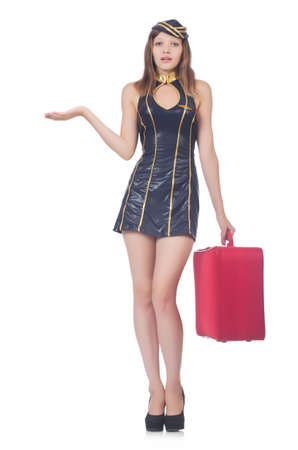 Woman travel attendant with suitcase on white Stock Photo - 22327027