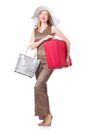 Young woman with suitcase on white Stock Photo - 22476019