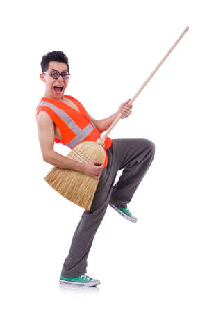 Funny janitor isolated on white Stock Photo - 22476023