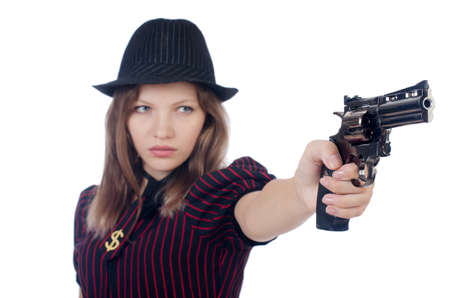 Woman gangster isolated on white Stock Photo - 22582087