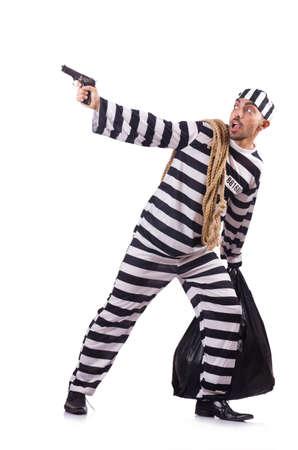 Prisoner with gun isolated on white Stock Photo - 23096375