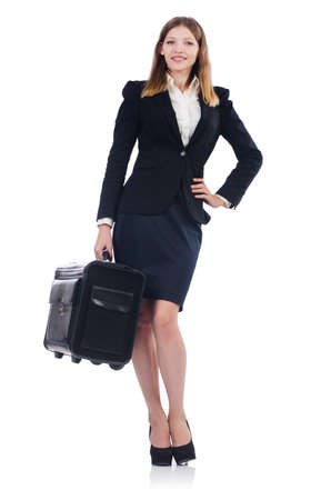 Woman preparing for vacation with suitcase on white Stock Photo - 23496420