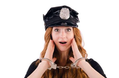 Redhead agente di polizia isolati su bianco Archivio Fotografico - 23496485