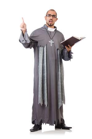 Sacerdote joven aislado en el blanco Foto de archivo - 23922010