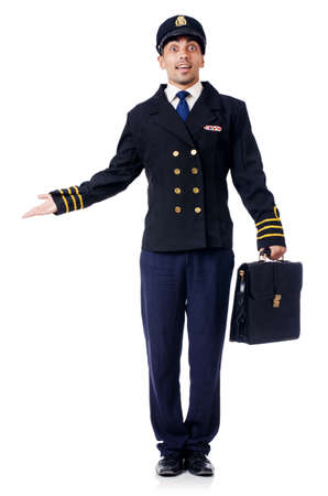 Young pilot isolated on the white Stock Photo - 27277921