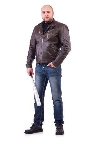 Violent man with baseball bat on white Stock Photo
