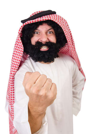 Funny threatening  arab man isolated on white 版權商用圖片
