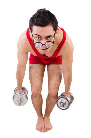 Funny guy with dumbbels on white Stock Photo - 28026370
