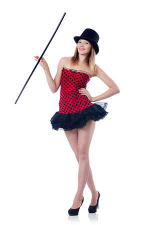 Magician woman with wand on white Stock Photo - 27973683