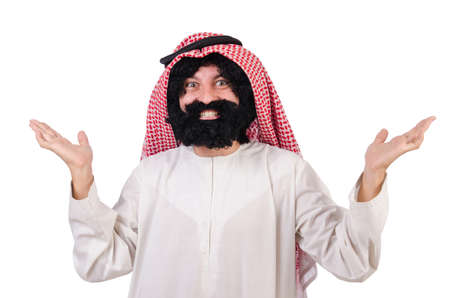 Funny arab man isolated on white Stock Photo