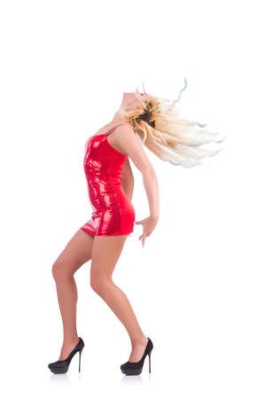 화이트 절연 빨간 드레스에서 춤을하는 여자