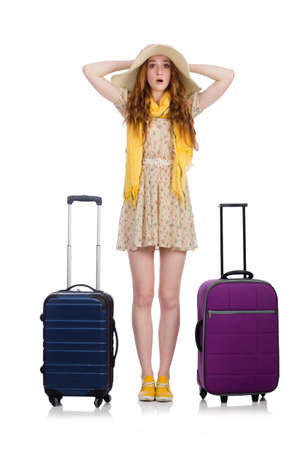 Reizen vakantie concept met bagage op wit Stockfoto