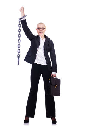 Businesswoman with chain isolated on the white Stock Photo - 28392649