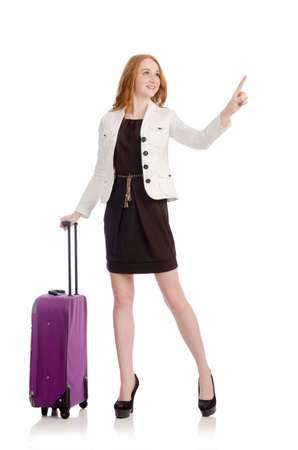 Travel vacation concept with luggage on white photo