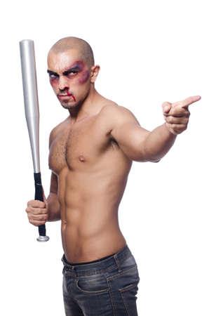hematoma: Ripped man with baseball bat on white Stock Photo