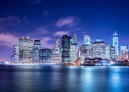 Night panorama of Manhattan in New York, USA