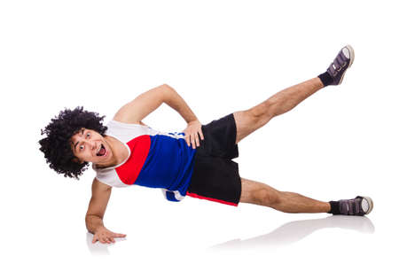 afrocut: Man doing exercises isolated on white Stock Photo