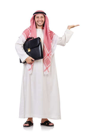 qameez: Arab businessman  with briefcase holding hands   isolated on white