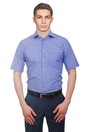 Male model with shirt isolated on white Stock Photo - 29479147