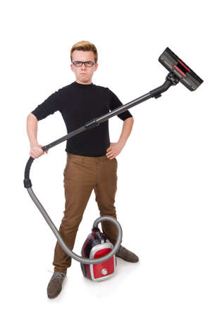 Funny man with vacuum cleaner on white photo