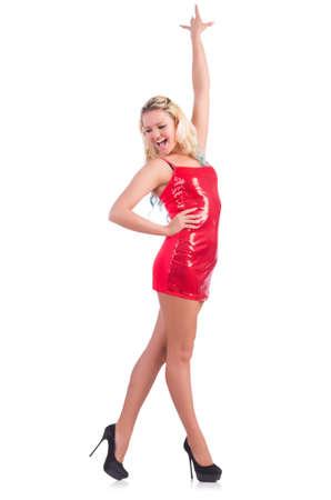 흰색에 고립 된 빨간 드레스 여자 춤