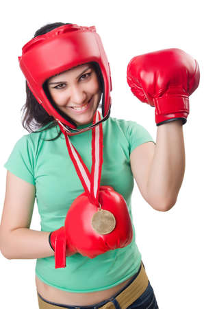 Woman boxer isolated on the white background photo