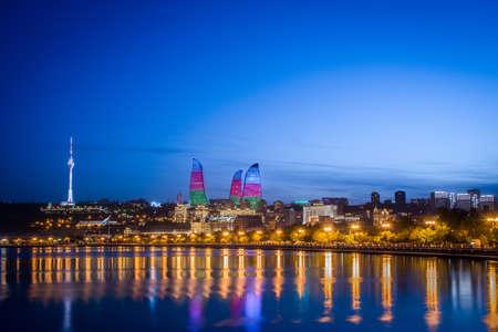 baku: Night photo of Baku Azerbaijan Stock Photo