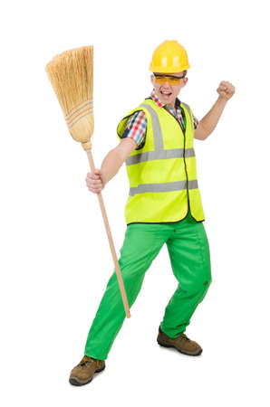 Funny janitor with broom isolated on white photo