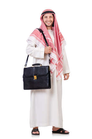 qameez: Arab businessman with briefcase isolated on white Stock Photo