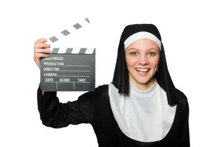 footage: Nun with movie board isolated on white Stock Photo