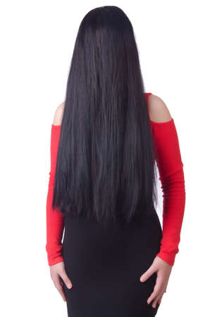 Woman with long hair haircut photo