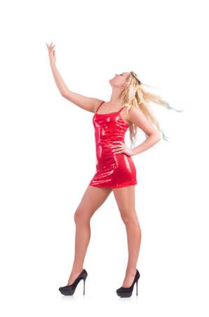 빨간 드레스의 여자가 춤에 격리 된 화이트