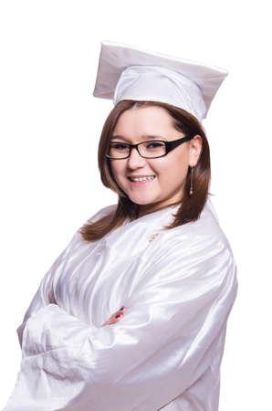 Female student isolated on white photo