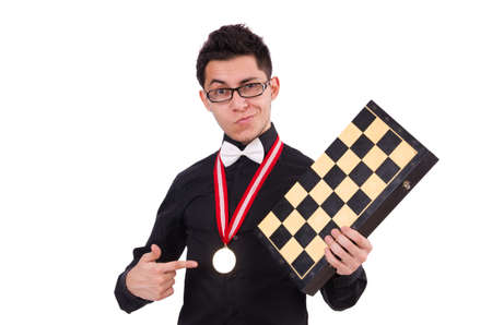 Funny chess player isolated on white photo