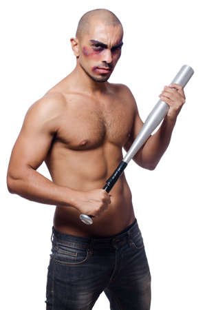 Ripped man with baseball bat on white photo
