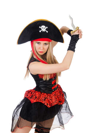 Woman pirate isolated on the white photo