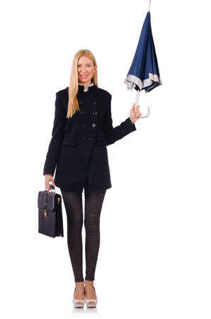 Woman businesswoman hold an umbrella and a bag isolated on white photo