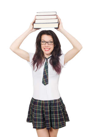 Young student hold books isolated on the white background photo