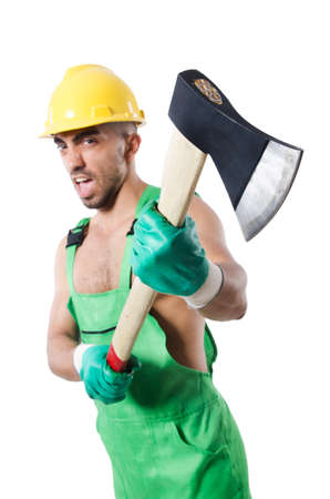 Worker with axe isolated on white photo