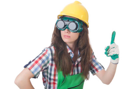 Woman wearing goggles in safety concept Stock Photo - 30385537