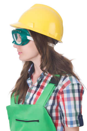 Woman wearing goggles in safety concept Stock Photo - 30385541