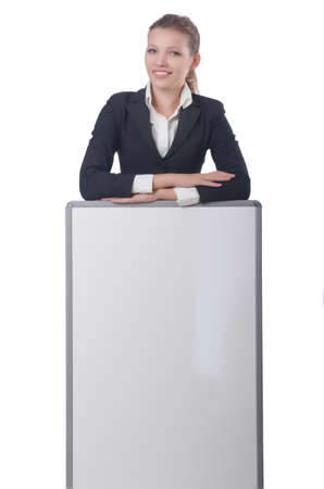 Woman businesswoman with blank board on white photo