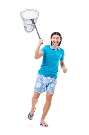 Funny guy with empty butterfly net photo