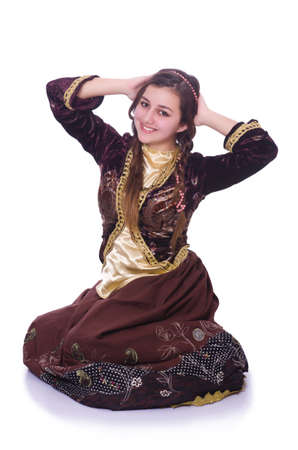 Young lady dancing traditional azeri dance Stock Photo - 29911867