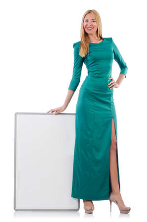 Woman in green dress with blank board Stock Photo - 30735183