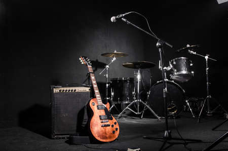 Set of musical instruments during concert 스톡 콘텐츠