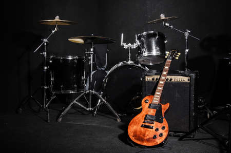 Set of musical instruments during concert Editorial