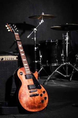 Set of musical instruments during concert Imagens