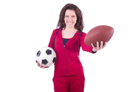 Vrouw Met Voetbal Geisoleerd Op Wit Royalty Vrije Foto Plaatjes