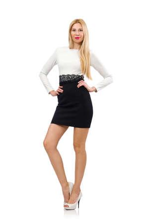Mujer Bonita En El Vestido Blanco Y Negro Aislado En Blanco